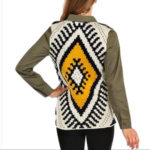 Blu Pepper | Aztec Sweater Military Jacket